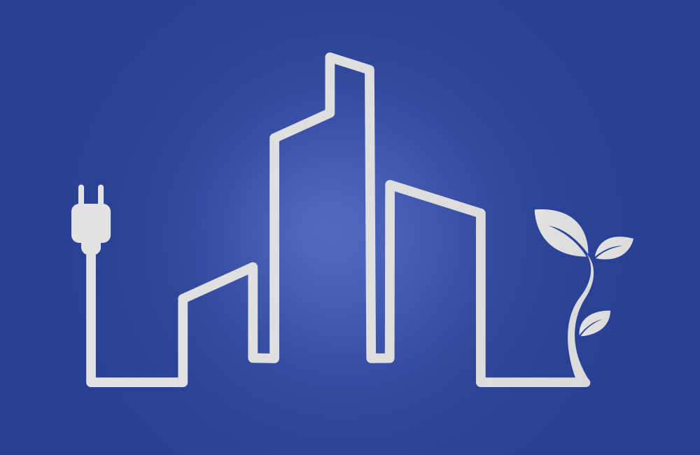 Graphic of building outlines with leaves and plug end